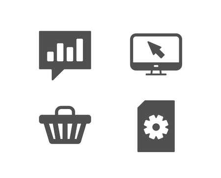 Set of Shop cart, Analytical chat and Internet icons. File management sign. Web buying, Communication speech bubble, Monitor with cursor. Doc with cogwheel.  Quality design elements. Classic style