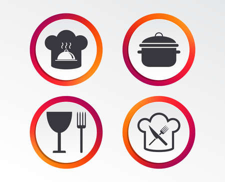 Chief hat and cooking pan icons. Crosswise fork and knife signs. Boil or stew food symbols. Infographic design buttons. Circle templates. Vector