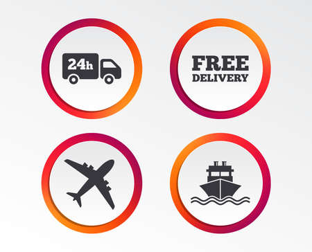 Cargo truck and shipping icons. Shipping and free delivery signs. Transport symbols. 24h service. Infographic design buttons. Circle templates. Vector