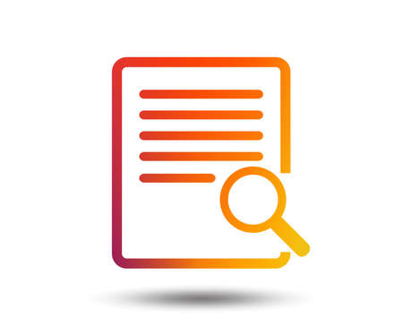 Search in file sign icon. Find in document symbol. Blurred gradient design element. Vivid graphic flat icon. Vector