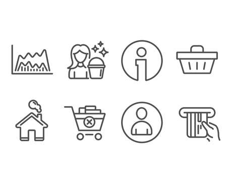 Set of Avatar, Cleaning and Trade chart icons. Remove purchase, Shopping basket and Credit card signs. User profile, Maid service, Market data. Delete from cart, Sale offer, Atm payment. Vector Çizim