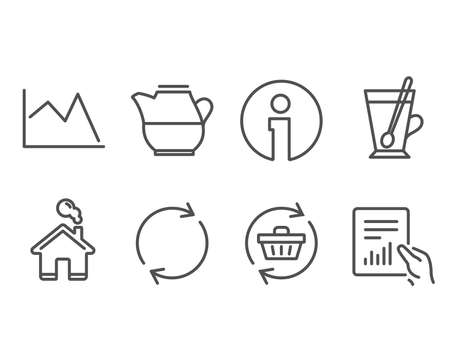 Set of Line chart, Tea mug and Full rotation icons. Milk jug, Refresh cart and Document signs. Financial graph, Cup with teaspoon, Refresh or reload. Fresh drink, Online shopping, File with diagram Illusztráció