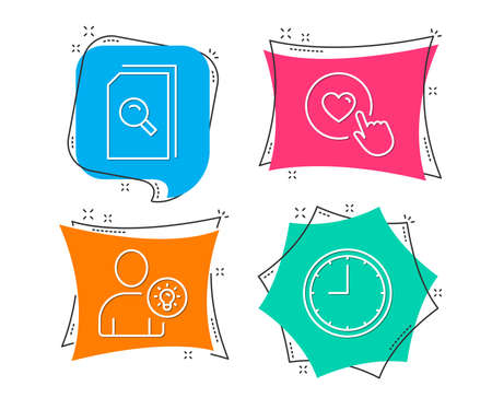 Set of Search files, User idea and Like button icons. Time sign. Magnifying glass, Light bulb, Press love. Office clock.  Flat geometric colored tags. Vivid banners. Trendy graphic design. Vector