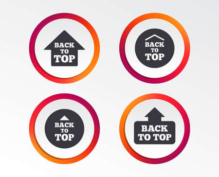 Back to top icons. Scroll up with arrow sign symbols. Infographic design buttons. Circle templates. Vector