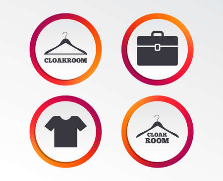 Cloakroom icons. Hanger wardrobe signs. T-shirt clothes and baggage symbols. Infographic design buttons. Circle templates. Vector Standard-Bild - 101832026