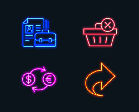 Neon lights. Set of Delete purchase, Currency exchange and Vacancy icons. Share sign. Remove from basket, Banking finance, Hiring job. Link.  Glowing graphic designs. Vector Illustration