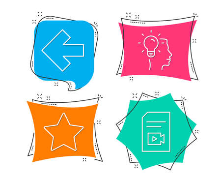 Set of Star, Left arrow and Idea icons. Video file sign. Best rank, Direction arrow, Professional job. Vlog page.  Flat geometric colored tags. Vivid banners. Trendy graphic design. Vector Иллюстрация