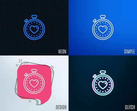 Glitch, Neon effect. Heart in Timer line icon. Love symbol. Valentines day stopwatch sign. Trendy flat geometric designs. Vector Illustration