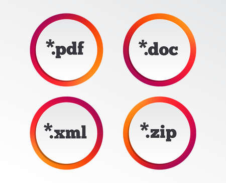 Document icons. File extensions symbols. PDF, ZIP zipped, XML and DOC signs. Infographic design buttons. Circle templates. Vector