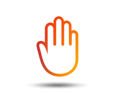 Hand sign icon. No Entry or stop symbol. Give me five. Blurred gradient design element. Vivid graphic flat icon. Vector Illustration