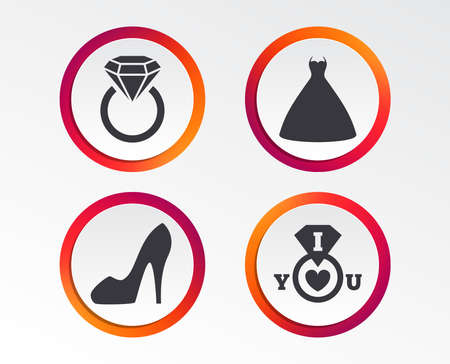 Wedding dress icon. Womens shoe symbol. Wedding or engagement day ring with diamond sign. Infographic design buttons. Circle templates. Vector