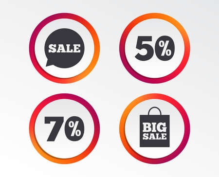 Sale speech bubble icon. 50% and 70% percent discount symbols. Big sale shopping bag sign. Infographic design buttons. Circle templates. Vector Stock Vector - 101832039