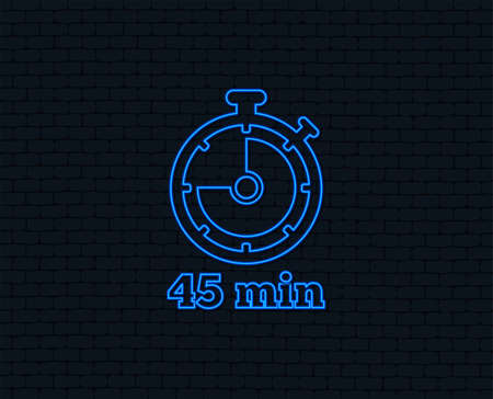 Neon light. Timer sign icon. 45 minutes stopwatch symbol. Glowing graphic design. Brick wall. Vector Ilustração