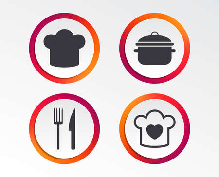 Chief hat and cooking pan icons. Fork and knife signs. Boil or stew food symbols. Infographic design buttons. Circle templates. Vector Illustration