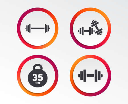 Dumbbells sign icons. Fitness sport symbols. Gym workout equipment. Infographic design buttons. Circle templates. Vector 向量圖像