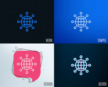 Glitch, Neon effect. Business networking line icon. International work symbol. Global communication sign. Trendy flat geometric designs. Vector