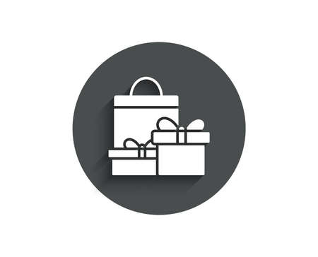 Gift boxes with bag simple icon. Present or Sale sign. Birthday Shopping symbol. Package in Gift Wrap. Circle flat button with shadow. Vector