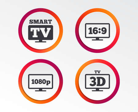 Smart TV mode icon. Aspect ratio 16:9 widescreen symbol. Full hd 1080p resolution. 3D Television sign. Infographic design buttons. Circle templates. Vector