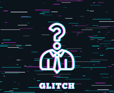 Glitch effect. Business head hunting line icon. Question sign. Human resources symbol. Background with colored lines. Vector