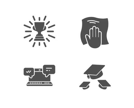 Set of Internet chat, Trophy and Washing cloth icons. Throw hats sign. Online communication, Winner cup, Wipe with a rag. College graduation.  Quality design elements. Classic style. Vector