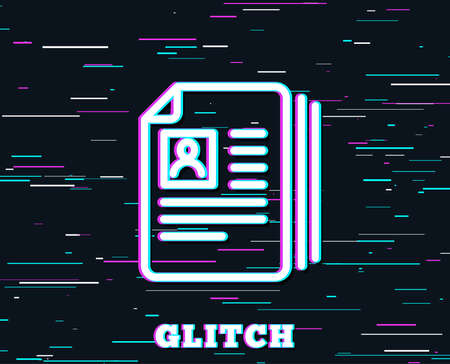 Glitch effect. Business recruitment line icon. CV documents or Portfolio sign. Background with colored lines. Vector  イラスト・ベクター素材