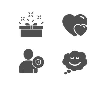 Set of Hearts, Security and Present box icons. Speech bubble sign. Romantic relationships, Person protection, Sale offer. Comic chat.  Quality design elements. Classic style. Vector