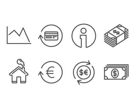 Set of Money currency, Exchange currency and Refund commission icons. Line chart, Banking signs. Cash change, Reshresh exchange rate, Cashback card. Buying commerce, Financial graph, Money payment Ilustração