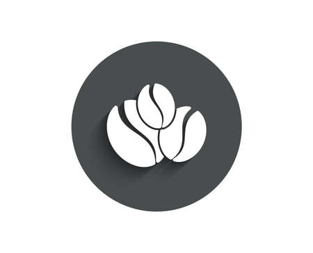 Coffee beans simple icon. Hot drink sign. Whole bean beverage symbol. Circle flat button with shadow. Vector