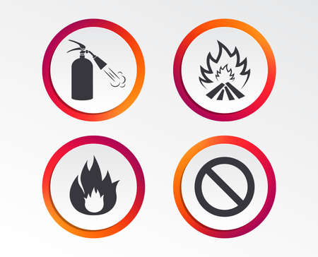 Fire flame icons. Fire extinguisher sign. Prohibition stop symbol. Infographic design buttons. Circle templates. Vector Illustration