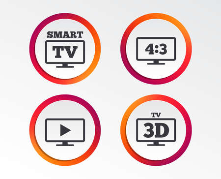 Smart TV mode icon. Aspect ratio 4:3 widescreen symbol. 3D Television sign. Infographic design buttons. Circle templates. Vector Illustration