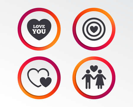 Valentine day love icons. Target aim with heart symbol. Couple lovers sign. Infographic design buttons. Circle templates. Vector