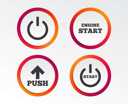 Power icons. Start engine symbol. Push or Press arrow sign. Infographic design buttons. Circle templates. Vector