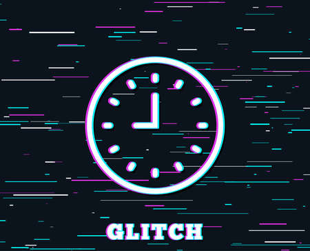 Glitch effect. Clock line icon. Time sign. Office Watch or Timer symbol. Background with colored lines. Vector Illustration