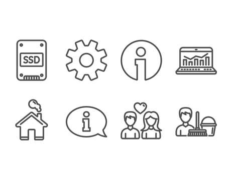 Set of Ssd, Web analytics and Information icons. Couple love, Service and Cleaning service signs. Solid-state drive, Statistics, Info center. People in love, Cogwheel gear, Bucket with mop. Vector Stock Illustratie