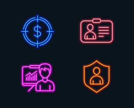 Neon lights. Set of Dollar target, Presentation and Id card icons. Security sign. Aim with usd, Education board, Human document. Private protection.  Glowing graphic designs. Vector