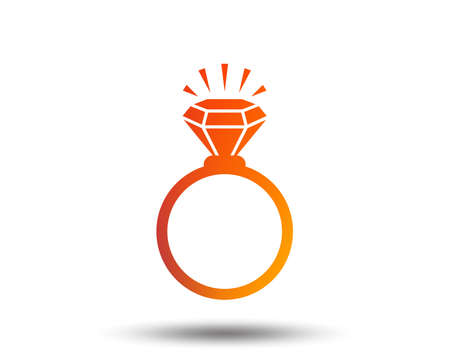 Ring sign icon. Jewelry with shine diamond symbol. Wedding or engagement day symbol. Blurred gradient design element. Vivid graphic flat icon. Vector  イラスト・ベクター素材