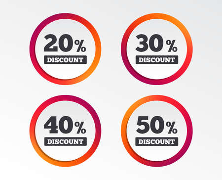 Sale discount icons. Special offer price signs. 20, 30, 40 and 50 percent off reduction symbols. Infographic design buttons. Circle templates. Vector Illustration