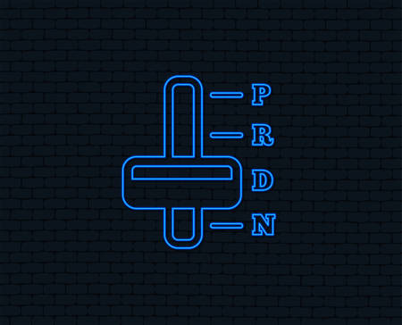 Neon light. Automatic transmission sign icon. Auto car control symbol. Glowing graphic design. Brick wall. Vector Illustration