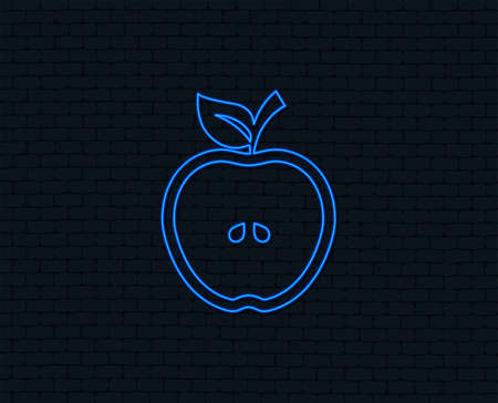 Neon light. Apple sign icon. Fruit with leaf symbol. Glowing graphic design. Brick wall. Vector