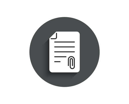 CV attachment simple icon. Document file symbol. Circle flat button with shadow. Vector