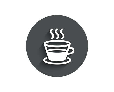 Coffee and Tea simple icon. Hot drink sign. Fresh beverage symbol. Circle flat button with shadow. Vector
