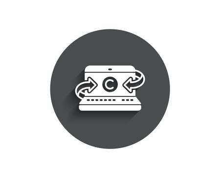 Copywriting notebook simple icon. Сopyright sign. Media content symbol. Circle flat button with shadow. Vector