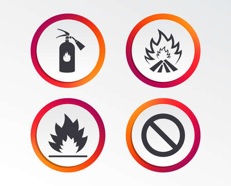 Fire flame icons. Fire extinguisher sign. Prohibition stop symbol. Infographic design buttons. Circle templates. Vector Ilustração