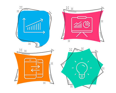 Set of Presentation, Chart and Phone communication icons. Light bulb sign. Board with charts, Presentation chart, Incoming and outgoing calls. Lamp energy.  Flat geometric colored tags. Vivid banners Ilustracja