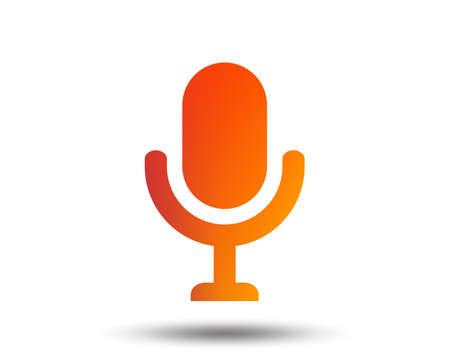 Microphone icon. Speaker symbol. Live music sign. Blurred gradient design element. Vivid graphic flat icon. Vector