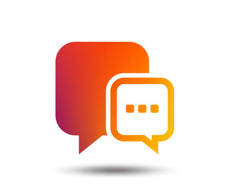 Chat sign icon. Speech bubble with three dots symbol. Communication chat bubble. Blurred gradient design element. Vivid graphic flat icon. Vector Ilustracja