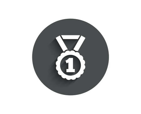 Reward Medal simple icon. Winner achievement or Award symbol. Glory or Honor sign. Circle flat button with shadow. Vector Illustration