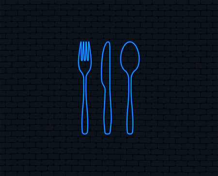 Neon light. Fork, knife, tablespoon sign icon. Cutlery collection set symbol. Glowing graphic design. Brick wall. Vector Illustration