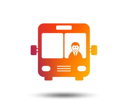 Bus sign icon. Public transport with driver symbol. Blurred gradient design element. Vivid graphic flat icon. Vector