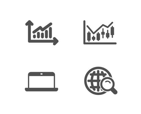 Set of Graph, Financial diagram and Laptop icons. Internet search sign. Presentation diagram, Candlestick chart, Mobile computer. Web finder.  Quality design elements. Classic style. Vector Illusztráció